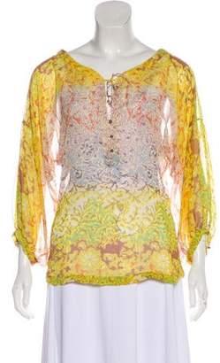 Diane von Furstenberg Peelo Silk Chiffon Long Sleeve Blouse