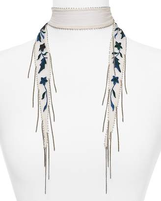 Chan Luu Star Floral Embroidered Skinny Scarf