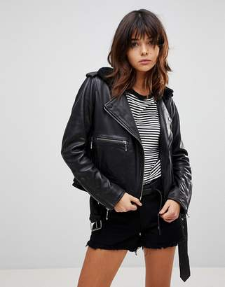 Muu Baa Muubaa Guilia Shearling Leather Biker Jacket