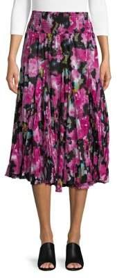 Context Pleated Inkblot Floral Midi Skirt
