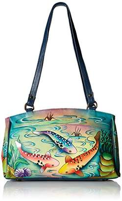 Anuschka Handpainted Leather 8056-KOI Double Entry Satchel