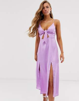 Collective The Label knot front cami midi dress with split thigh in purple sateen