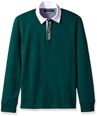 Nautica Men's Solid Heavy Jersey Long Sleeve Polo Shirt