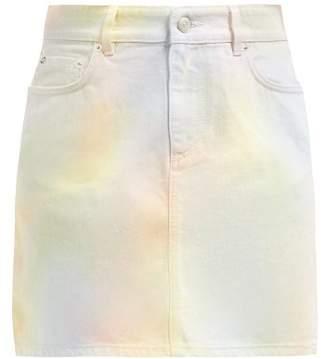 Ganni Shiloh Pastel Tie Dye Cotton Denim Skirt - Womens - Multi