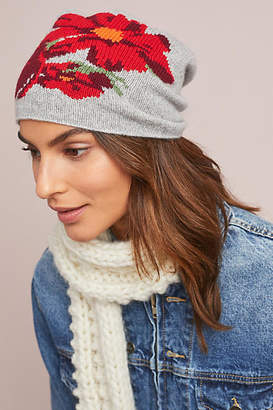 Anthropologie Kitted in Cashmere x Cashmere Winter Blooms Beanie