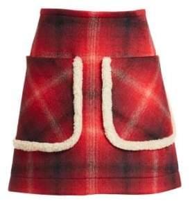 No.21 No. 21 Faux Fur Trim Plaid Skirt