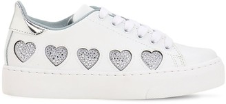 Chiara Ferragni EMBELLISHED HEARTS FAUX LEATHER SNEAKERS