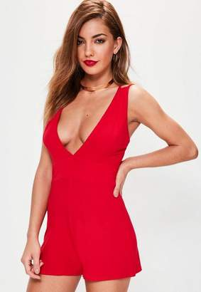 Missguided Jersey Plunge Double Strap Playsuit