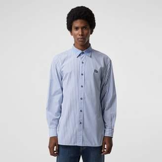 Burberry Contrast Stripe Cotton Poplin Shirt , Size: M, Blue