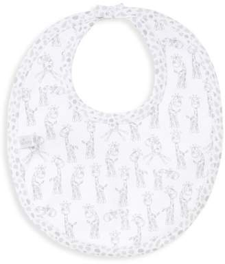 Kissy Kissy Silver Giraffe Print Cotton Bib