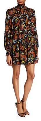 Cinq à Sept Rika High-Neck Floral Tiered Short Dress