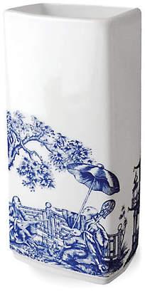 "Caskata 9"" Chinoiserie Rectangular Vase - White/Blue"