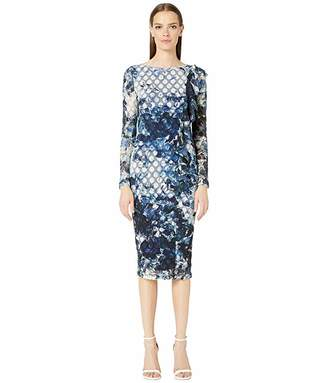 Fuzzi Long Sleeve Front Ruffle Printed Dot Dress