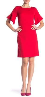 Sandra Darren Textured Bell Sleeve Dress