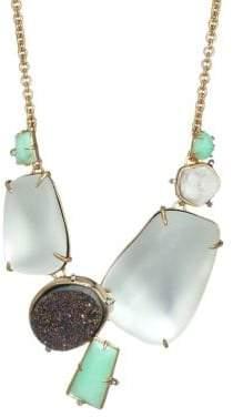 Alexis Bittar Lucite Crystal& Gemstone 10K Gold Statement Necklace