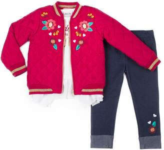 Little Lass Girls 4-6x Quilted Bomber Jacket, Ruffled Top & Embroidered Jeggings Set
