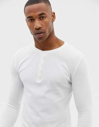 Asos DESIGN muscle fit long sleeve t-shirt with grandad neck in waffle in white