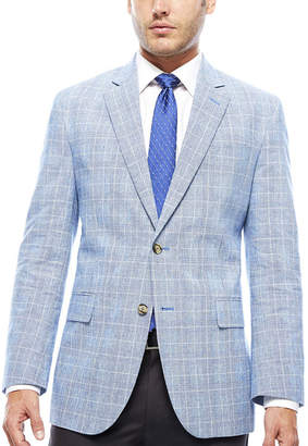 STAFFORD Stafford Bright Blue Plaid Linen-Cotton Sport Coat - Classic Fit