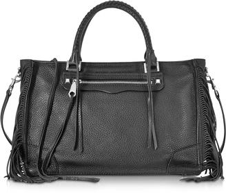 Rebecca Minkoff Black Leather Fringe Regan Satchel Tote $375 thestylecure.com