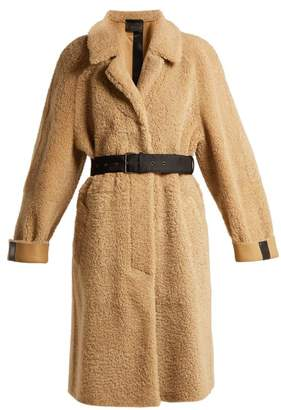 Prada Belted Shearling Coat - Womens - Light Brown
