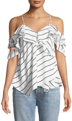 KENDALL + KYLIE Cold-Shoulder Pinstriped Ruffle-Wrap Blouse, White/Blue