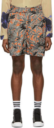 3.1 Phillip Lim Orange and Black Twist Belt Palm Tree Floral Shorts