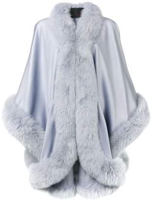 Liska fox fur trim cape coat