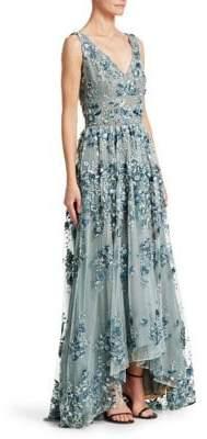 David Meister Embroidered Floral V-Neck Gown