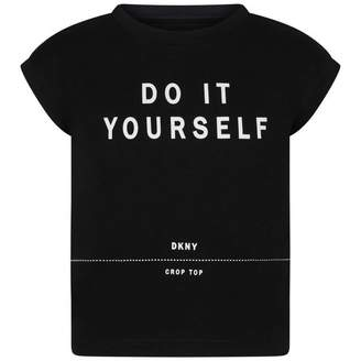 DKNY DKNYGirls Black Do It Yourself Jersey Top
