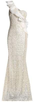 Badgley Mischka One-shoulder Ruffle-trimmed Sequined Tulle Gown