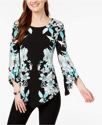 Alfani Printed Pointed-Hem Top, Created For Macy's