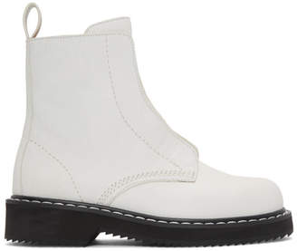 Jil Sander Navy White Zip Boots