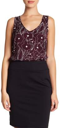 14th & Union Patterned V-Neck Tank Top (Petite Size Available)