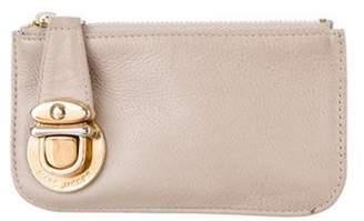 Marc Jacobs Leather Zip Wallet Beige Leather Zip Wallet
