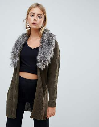 Brave Soul Hawk Cardigan with Detachable Faux Fur Collar