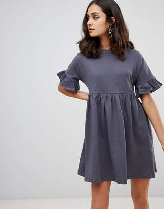 Asos Design DESIGN cotton slubby frill sleeve smock dress