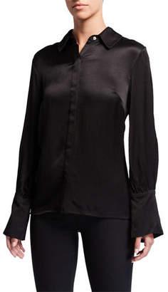 Natori Crinkle Satin Button-Down Long-Sleeve Blouse