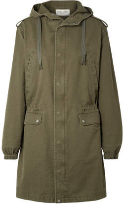 Saint Laurent Hooded Cotton Blend-gabardine Parka - Army green
