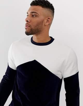 Asos Design DESIGN sweatshirt with cord colour blocking in navy
