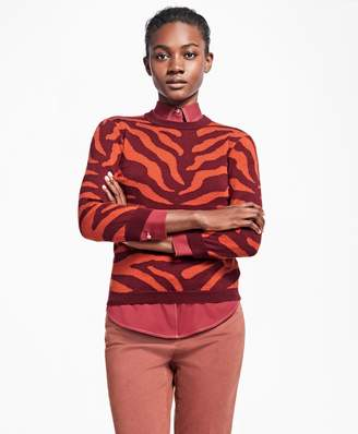 Brooks Brothers Zebra Intarsia Silk-Cashmere Wool Sweater
