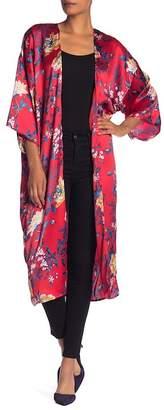 Accessory Street Long Floral Satin Kimono