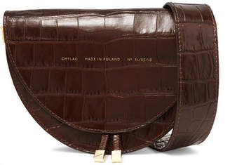 Chylak - Tasseled Croc-effect Glossed-leather Shoulder Bag - Dark brown