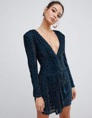 Missguided Peace & Love embellished plunge wrap dress in teal