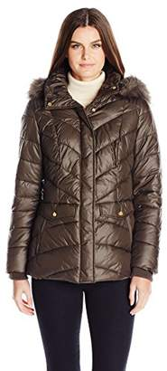 Jones New York Women's Chevron Faux Fur Trimmed Puffer Coat $57.17 thestylecure.com