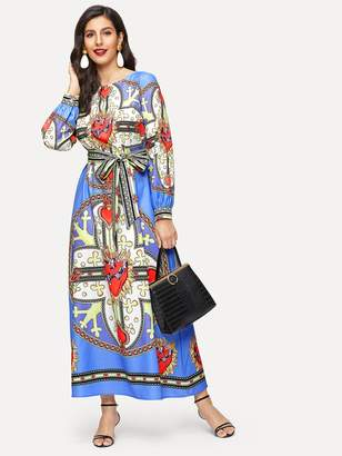 1d5486562795 Shein Tribal Print Hijab Long Dress With Belt
