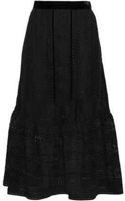 Perseverance Velvet-Trimmed Fluted Macramé Lace Midi Skirt