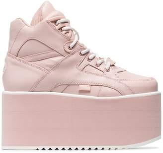 Buffalo David Bitton pink Classic High Nubuck Flatform sneakers