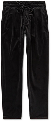 MONITALY Black Pleated Velvet Drawstring Trousers - Men - Black