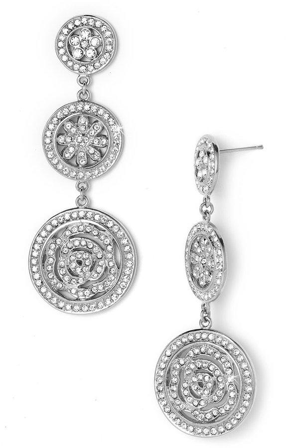Nadri Triple Drop Coin Earrings