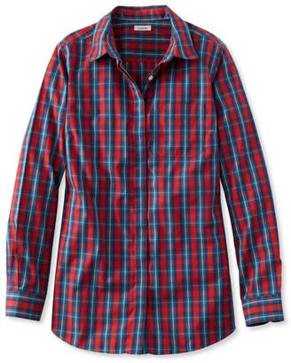 L.L. Bean L.L.Bean Wrinkle-Free Pinpoint Oxford Tunic, Long-Sleeve Slightly Fitted Plaid